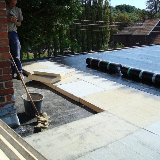 Placement isolant toit plat Hainaut