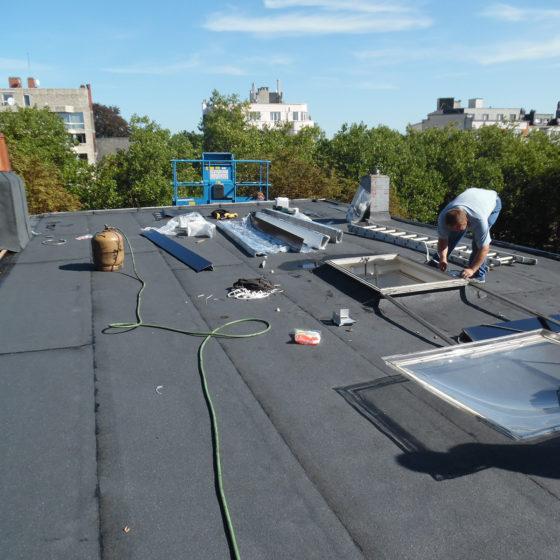 travail sur toiture plate à etterbeek